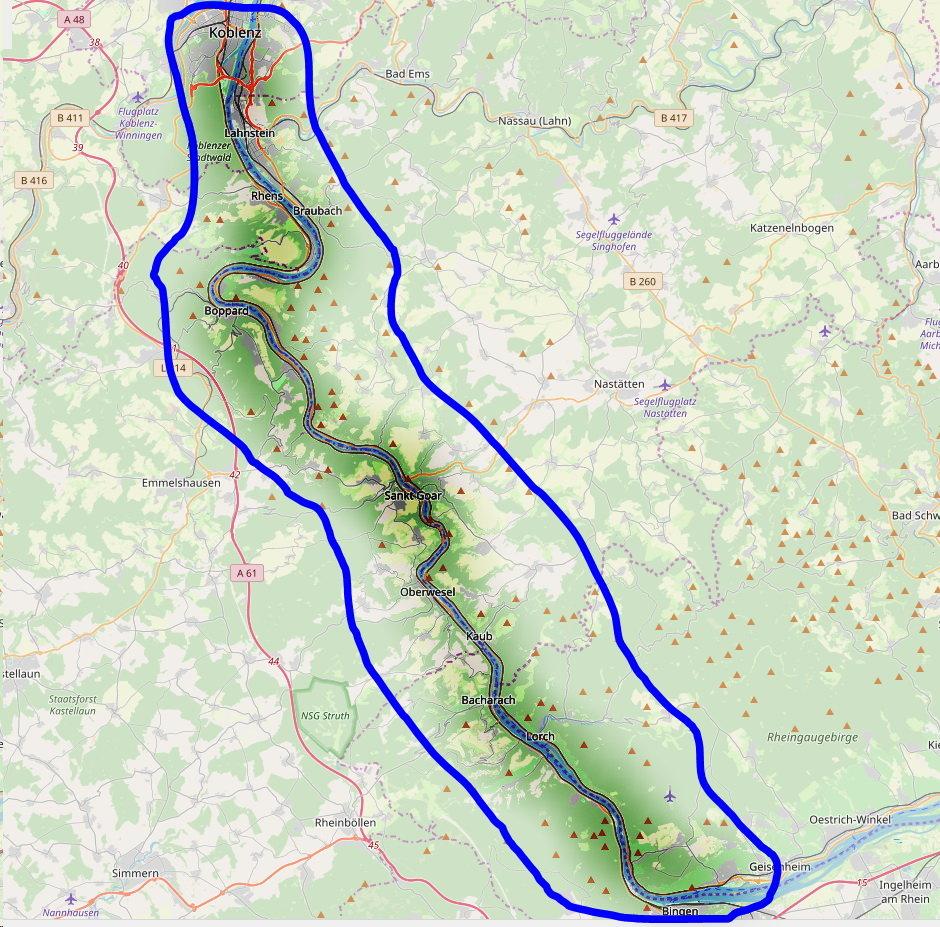 Mittelrheintal Karte.Mittelrheintal